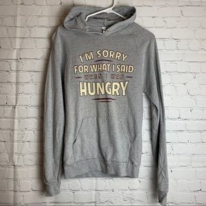 AMERICAN APPAREL Graphic Grey Hoodie 'Hungry'